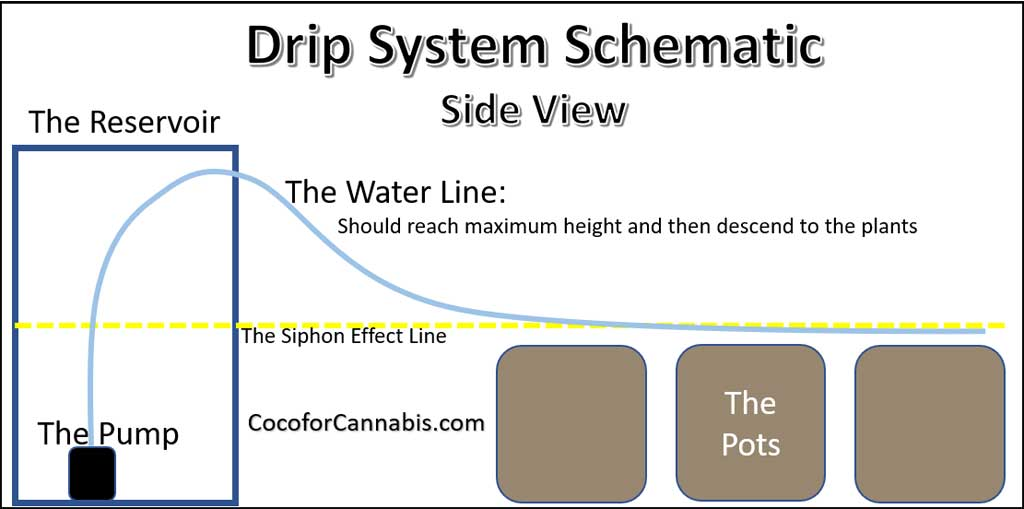 Side view schematic automatic watering system for cannabis
