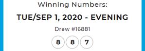 Winning numbers Sept 1